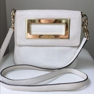 Michael Kors pearly white python cross body